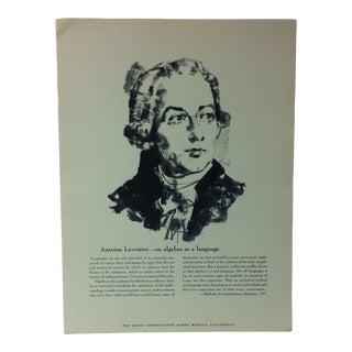 """1962 """"Antoine Lavoisier - on Algebra as a Language"""" The Rand Corporation Famous People in History Print For Sale"""