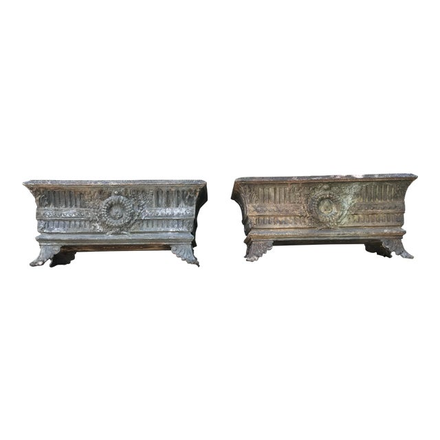 1900 Antique French Cast Iron Jardinieres - a Pair For Sale