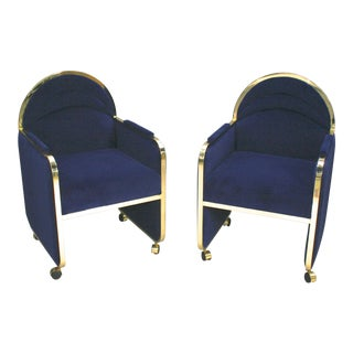 Design Institute America Baughman Brass & Blue Velvet Club Chairs - a Pair For Sale