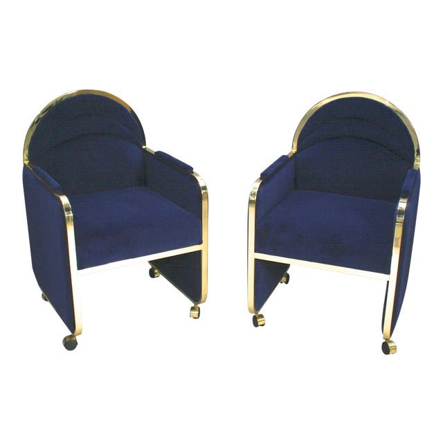 Pair Design Institute of America Brass and Blue Velvet Club Chairs For Sale