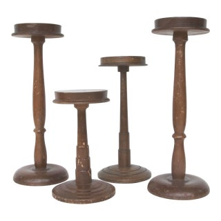 Circa 1940s Wood Department Store Hat Stands S/4 For Sale