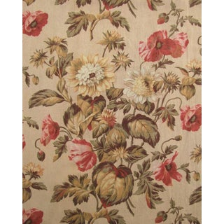 Antique 1870s French Botanical Textile Curtain Fabric For Sale