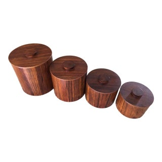 C. 1960s Mid-Century Modern Teak Wood Canister Set With Inserts - Set of 4 For Sale