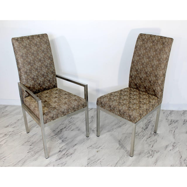 Animal Skin Mid-Century Modern Set of Six Milo Baughman for Dia Chrome Dining Chairs For Sale - Image 7 of 10