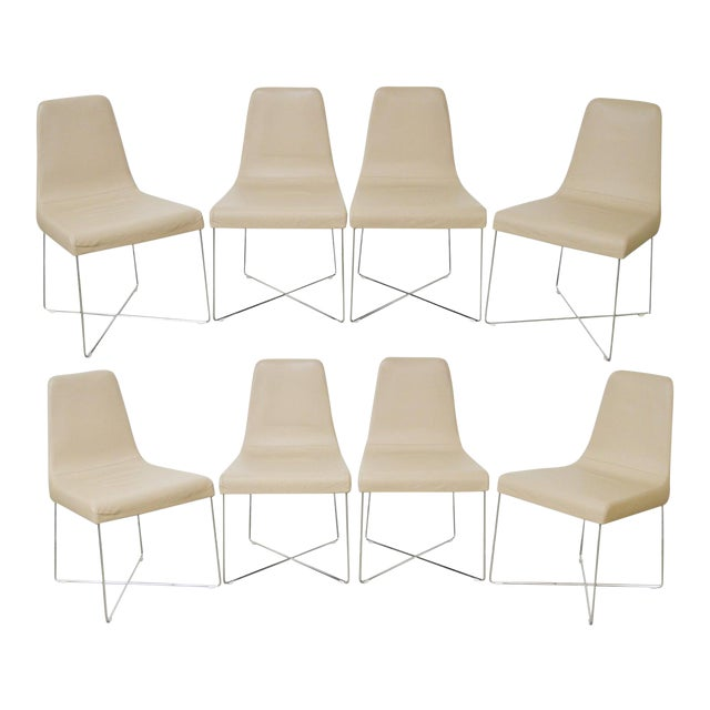 Ligne Roset Classic Modern Chrome & Leather Dining Chairs - Set of 8 For Sale