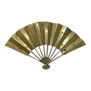 Mid Century Brass Fan Shape Trivet For Sale