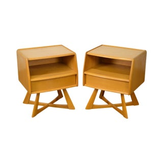 Heywood Wakefield Sculptura Mid Century Nightstands - A Pair