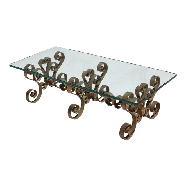Vintage Iron Scroll Cocktail Table With Thick Glass Top For Sale