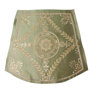 Antique French Silk Applique Seat Cover For Sale
