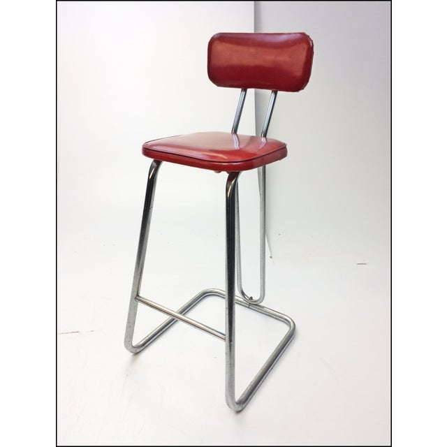 Mid Century Modern Red Vinyl Bar Stool - Image 2 of 11