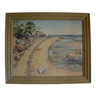 1940 Plein Air California Beach Cove Oil Painting For Sale