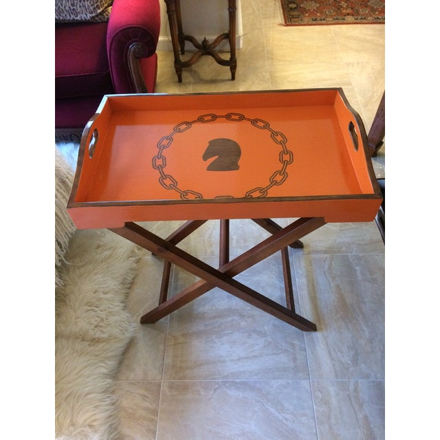 Hollywood Regency Hermès Inspired Orange Equestrian Bar Tray Table For Sale In Denver - Image 6 of 12