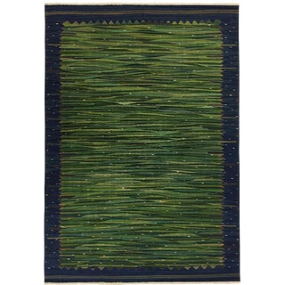 Rug & Relic Organic Modern Kilim 7'10 X 9'7 | Field of Green For Sale