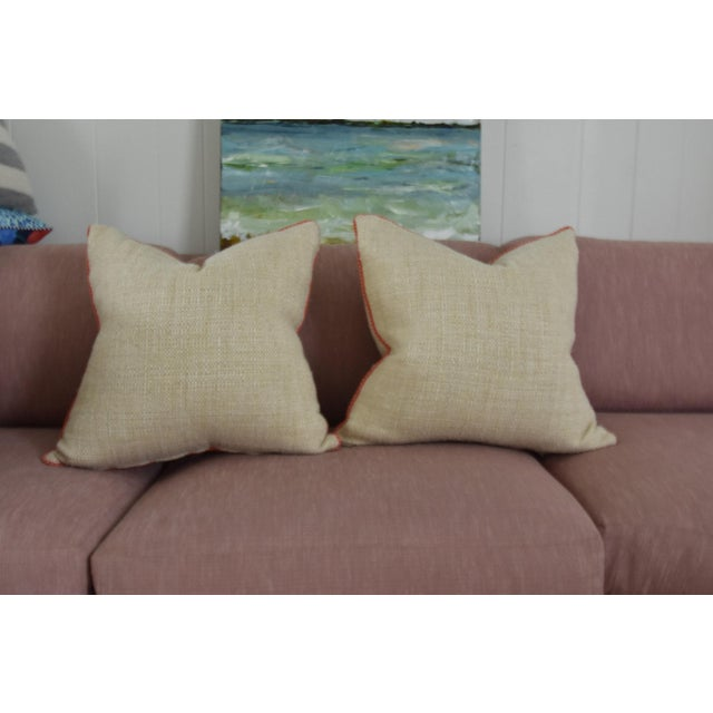 Neutral & Coral Cord Pillow Covers - a Pair - Image 2 of 7
