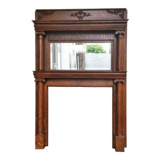 Victorian Antique American Tiger Oak Double Column Fireplace Mantle For Sale