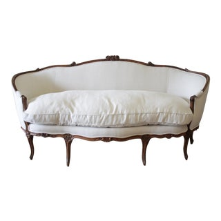 19th Century Louis XV Style French Carved Walnut Upholstered Belgian Linen Sofa