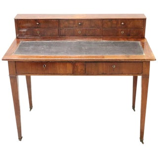19th Century Italian Mahogany Wood Antique Writing Desk For Sale