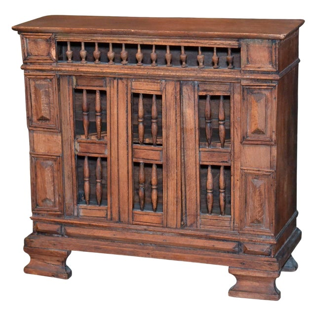 Italian Hand-Carved Petite Walnut Table Cabinet, Circa 1840 For Sale