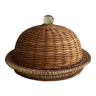 Traditional Wicker Covered Glass Dome Serving Dish For Sale