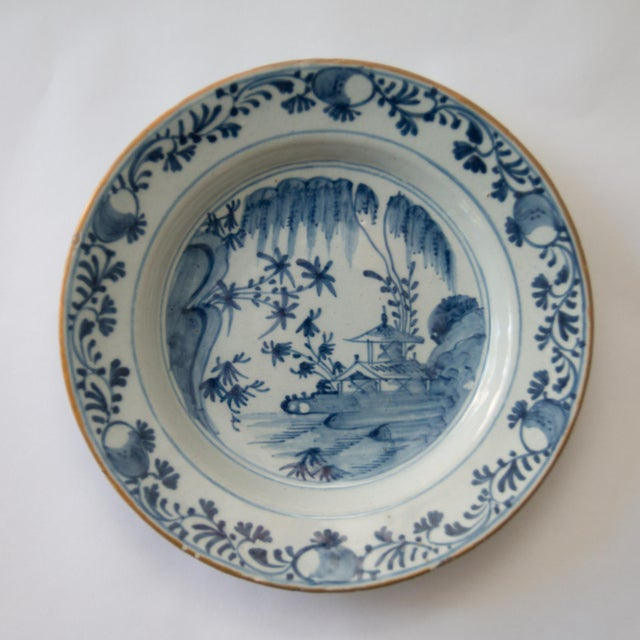 Late 18th Century 18th-Century Antique Delft Chinoiserie Plate For Sale - Image 5 of 5