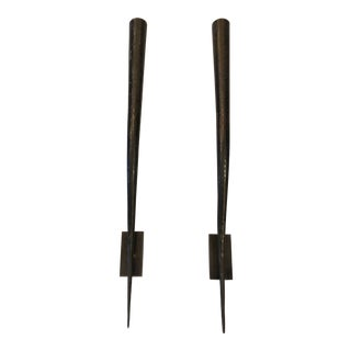 Elongated Horn Shaped Bronze Candle Sconces - a Pair For Sale