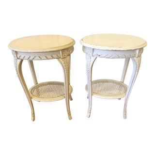 Vintage Louis XV Style White Side Tables - A Pair