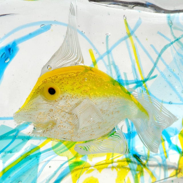 Figurative Cenedese Murano Yellow Gold Fish Italian Art Glass Aquarium Block Sculpture For Sale - Image 3 of 6