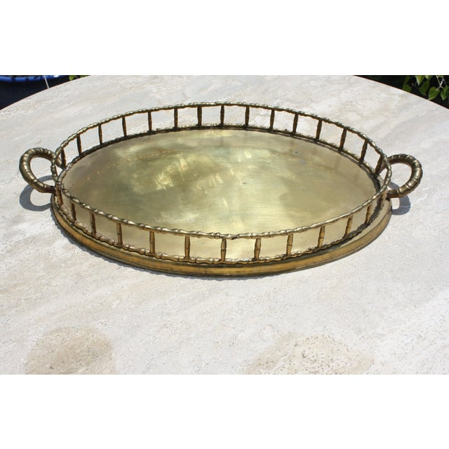 Oval Faux Bamboo Brass Tray - Image 5 of 6