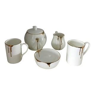 Reiko Kaneko Gold Drip Tea Set - Set of 5 For Sale