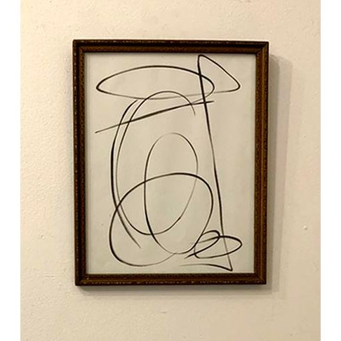 Franz Kline Contemporary Abstract Black and White Ink Drawing, Framed For Sale - Image 4 of 4