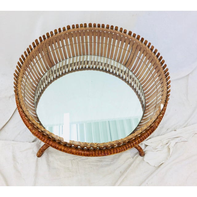 Vintage Rattan & Glass Top Coffee Table For Sale In Raleigh - Image 6 of 12