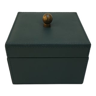 Stitched Leather Covered Box For Sale