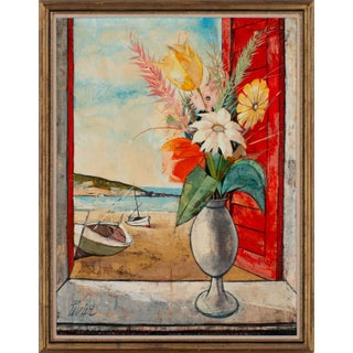 "Circa 1960 ""Bouquet Sur La Plage"" Landscape Oil Painting by Charles Levier, Framed For Sale"