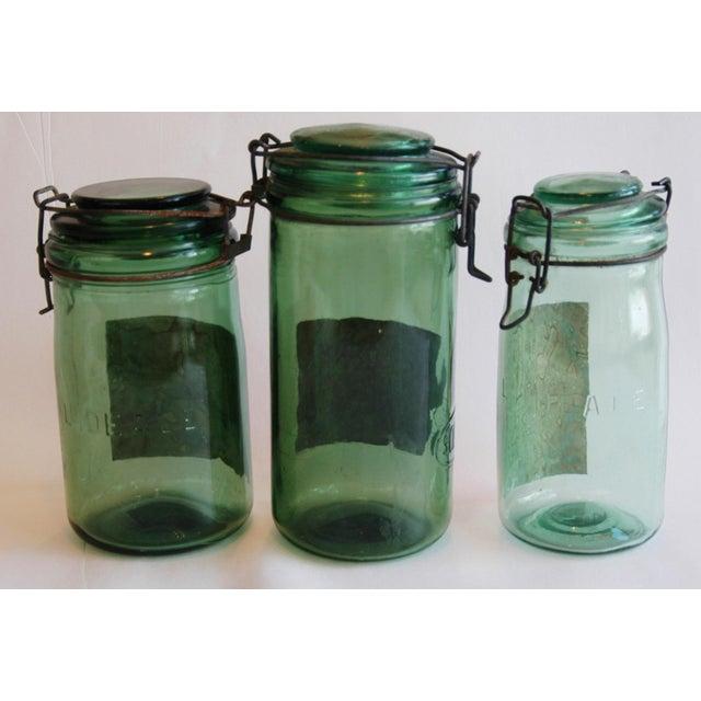 1930s Vintage French Labeled & Lidded Canning Preserve Jars - Set of 3 - Image 8 of 8