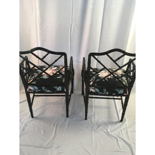 Asian 1980s Chinese Chippendale Black Lacquer Arm Chairs - a Pair For Sale - Image 3 of 11
