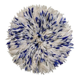 Cameroon Juju Hat in Ivory and Royal Blue For Sale