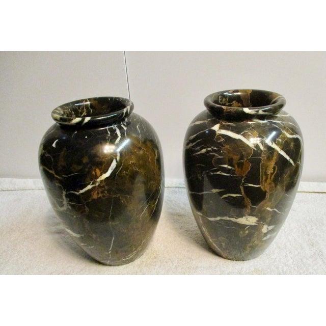 Large Black Brown Marble Vases A Pair Chairish