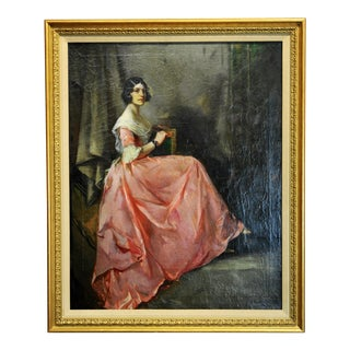 "1880s ""Portrait of a Lady in a Pink Silk Dress"" Oil Painting by Julius Rolshoven For Sale"