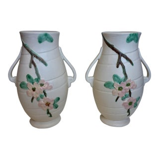 Pair of Large Weller Two-Handled Pottery Vases Art Nouveau Dogwood Matte Rose For Sale