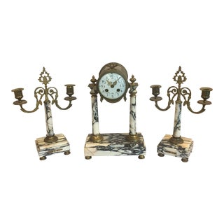 Vintage French Clock and Candelabra Mantle Set For Sale