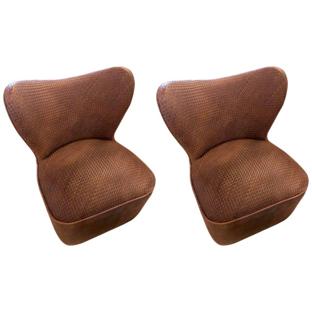 Pair of Woven Modern Leather Seat and Backrest Side Chairs in Brown For Sale