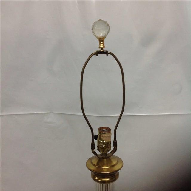 Hollywood Regency Hollywood Regency Brass & Glass Floor Lamp W/Table For Sale - Image 3 of 4