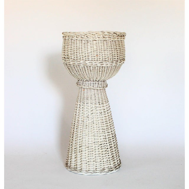 White Wicker Plant Stand - Image 6 of 6