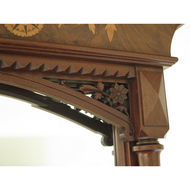 Herter Brothers Aesthetic Victorian Inlaid Walnut Queen Bedroom Set - A Pair - Image 10 of 11