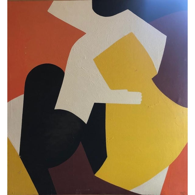This is a bold abstract of three figures by Northwest Artist Frances Maxine Gerber Christian circa 1960. Oil on canvas,...