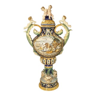 A Large Painted Italian Majolica Urn Circa 1885 For Sale