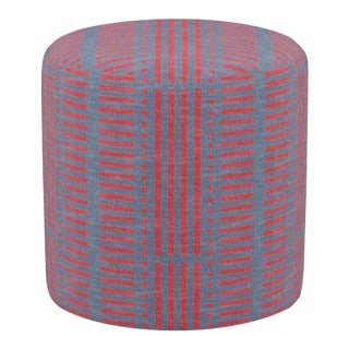Drum Ottoman in Red Blocks For Sale