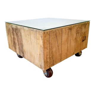 Vintage Industrial Butcher Block Coffee Table For Sale