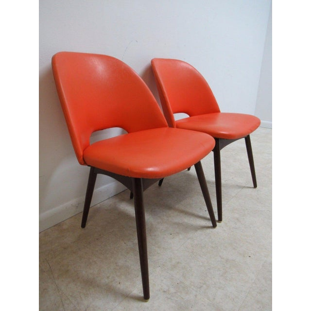 Orange Adrian Pearsall Craft Associates Scoop Side Chairs - A Pair For Sale - Image 8 of 9
