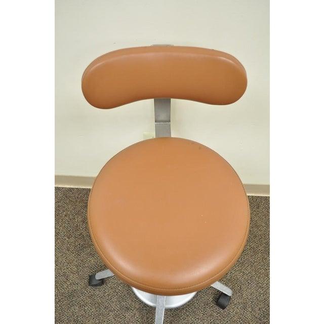 Orange Vintage Mid Century Industrial Modern Adjustable Dental Dentist Chair Stool Seat For Sale - Image 8 of 11